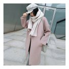 Solid Color Long Sleeve Coat Woman Middle Long