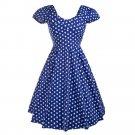 Short Sleeve Dress Polka Dot Backless Round Collar   blue
