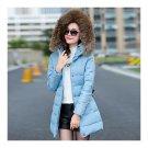 Winter Woman Middle Long Slim Down Coat Fur Collar blue