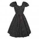 Short Sleeve Dress Polka Dot Backless Round Collar   black