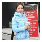 Winter Slim Embroidered Hooded Woman Down Coat   water blue