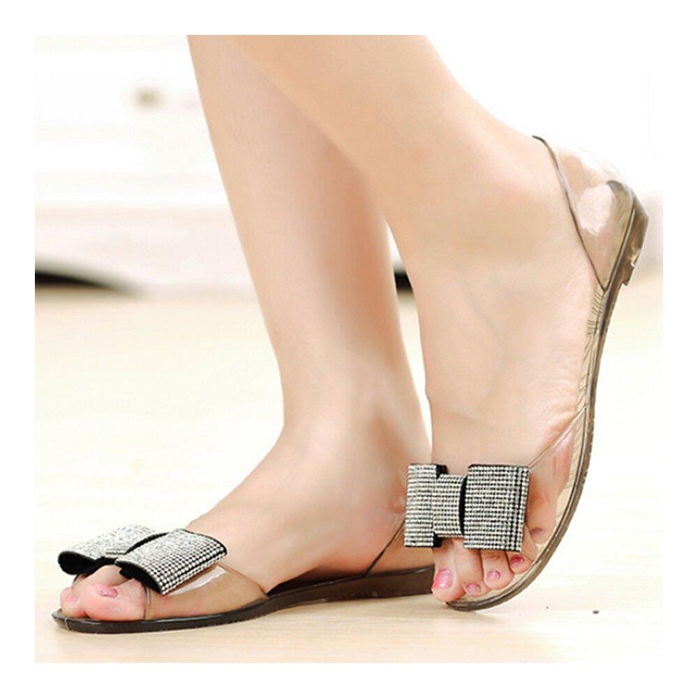 Bowknot Rhinestone Sandals Flat Jelly Shoes Beach Peep-toe