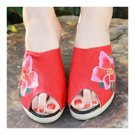 Old Beijing Cloth Embroidered Shoes Peep-toe  red