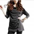 Women's Runched Button Front Casual Blouse Top