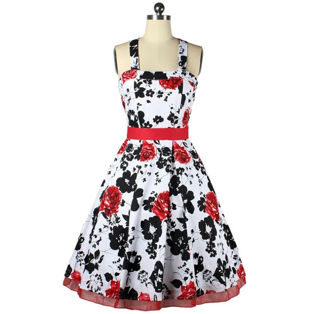 Summer Dress Hepburn Style Slim Big Peplum Bubble Skirt   red