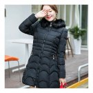 Winter Woman Down Coat Fur Collar Thick Warm Middle Long   black