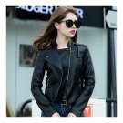 Woman PU Leather Biker Coat Short Handsome