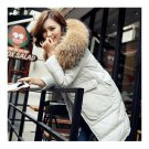 Winter Woman Fur Collar Thick Casual Middle Long Down Coat   grey