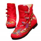 Vintage Beijing Cloth Shoes Embroidered Boots red with cotton 35