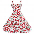 Suspender Dress Fashionable Printing Backless  red