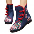 Vintage Beijing Cloth Shoes Embroidered Boots 12-02  blue  35