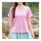 Splicing Slim Stand Collar Short Sleeve T-shirt   pink