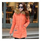 Winter Woman Slim Middle Long Fur Collar Hoodied Cotton Coat   orange