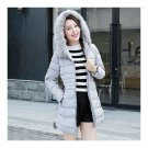 Winter Slim Fur Collar Middle Long Down Coat Woman Thickight grey