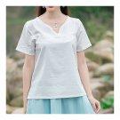 Splicing Slim Stand Collar Short Sleeve T-shirt   white