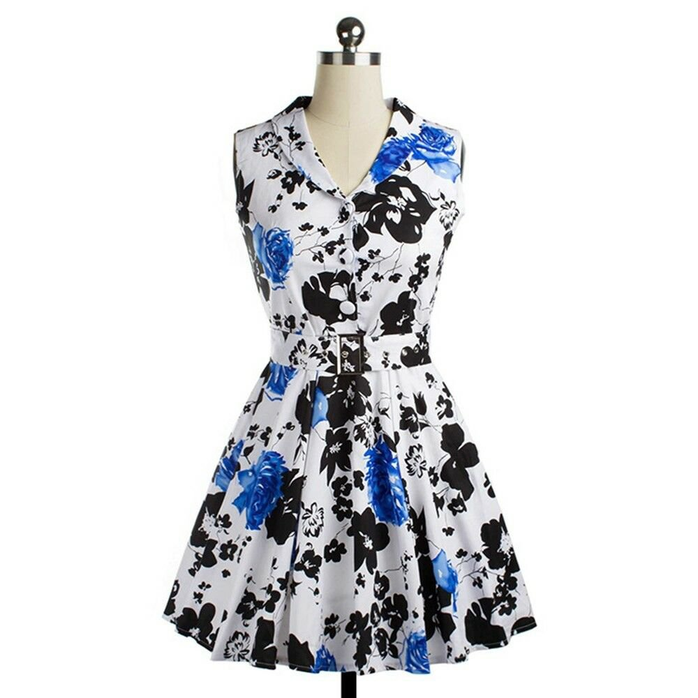 Printing Dress Sleeveless Rose Big Peplum    blue