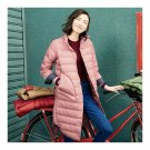 Middle Long Down Coat Woman Contrast Color Thin Light   pink