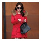 Winter Woman Fur Collar Down Coat Middle Long Warm   red