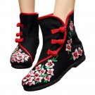 Vintage Beijing Cloth Shoes Embroidered Boots 12-02   black with cotton   35