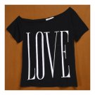 Women Big Round Collar Loose LOVE T-shirt   black
