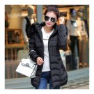 Winter Cotton Coat Woman Middle Long Slim Fur Collar    black    L
