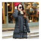 Winter Woman Middle Long Woman Thick Fur Collar Cotton Coat   black