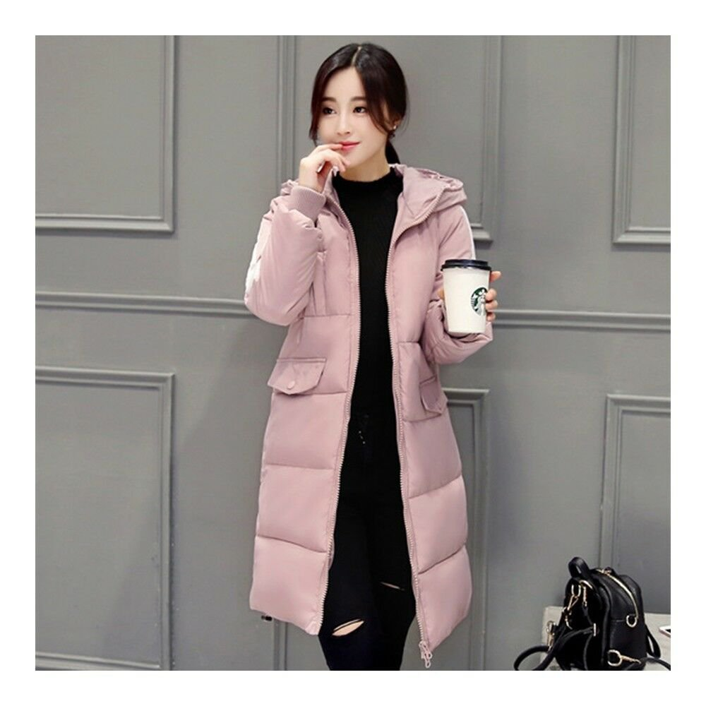 Simple Hooded Long Thick Plus Size Woman Down Coat    pink
