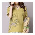 Loose Plus Size Cotton&Flax Casual Top T-shirt   yellow green