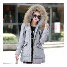Winter Slim Hoodied Fur Collar Middle Long Cotton Coat   light grey