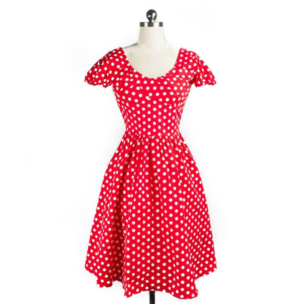 Short Sleeve Dress Polka Dot Backless Round Collar   red