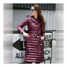 Hooded Thin Light Middle Long Down Coat Slim Woman   wine red