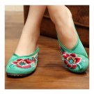Hibiscus Mutabilis Old Beijing Cloth Embroidered Shoes   green