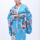 Vintage Luxurious Japanese Kimono Cosplay Costume Yukata Gown sakura light blue