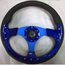 13in Alloy Auto Comfortable grip Steering Wheel Racing sport Style Blue Color