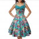 Printing Dress Sleeveless Slim Big Peplum   green