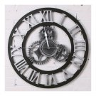 Vintage Industrial Loft Wood Gear Wall Clock    silver