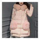 Winter Woman Middle Long Fake Fox Fur A Shape Down Coat    pink