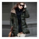 Thick Down Coat Middle Long Plus Size Woman Slim    army green