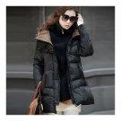 Thick Down Coat Middle Long Plus Size Woman Slim   black