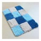 Fluff Ground Door Non-slip Mat Carpet Gradient Checks  blue   45*65cm