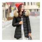 Winter Woman Middle Long Slim Plus Size Down Coat   black