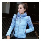 Winter Fashionable Short Thin Light Down Coat Woman   light blue