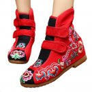 Flowers Vintage Beijing Cloth Shoes Embroidered Boots red 35