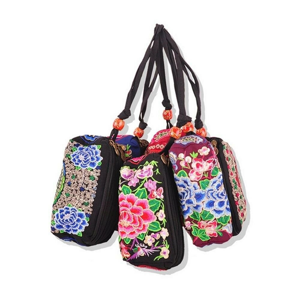 Embrioidery Bag National Three Zippers Mobile Phone Bag Featured Embroidery Hand