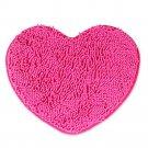 Fluff Heart Shape Chenille Small Carpet Non-slip Door Ground Mat   rose red