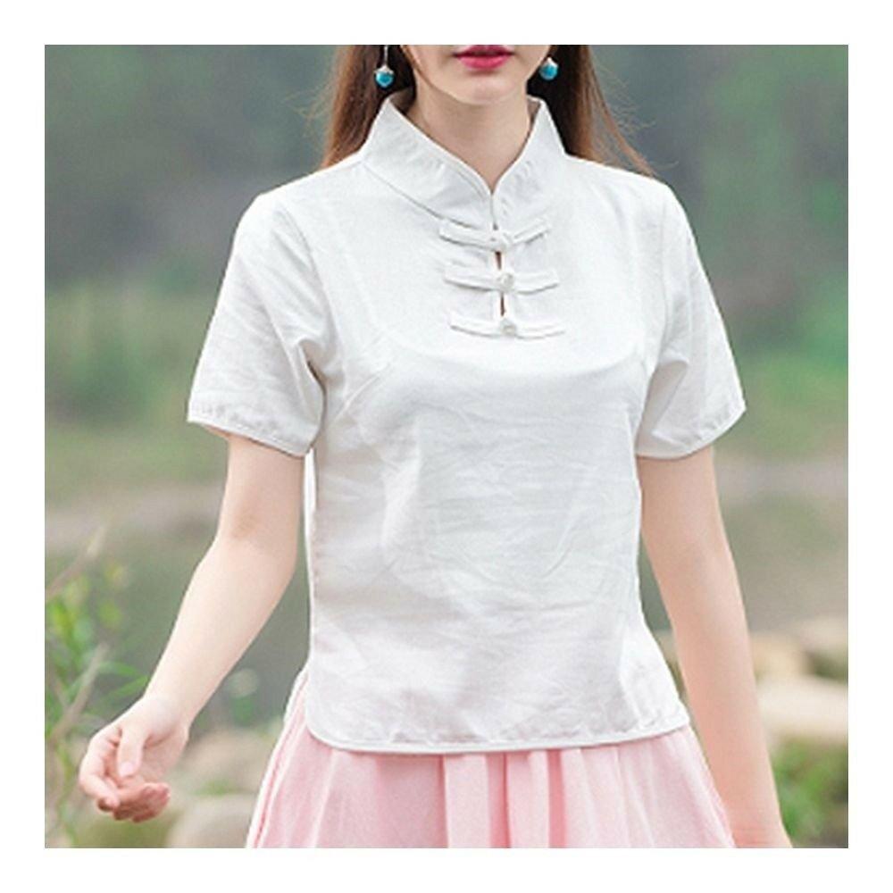 Plate Button Splicing Stand Collar Short Sleeve T-shirt    white