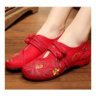 Lotus Cowhells Old Beijing Cloth Embroidered Shoes   red