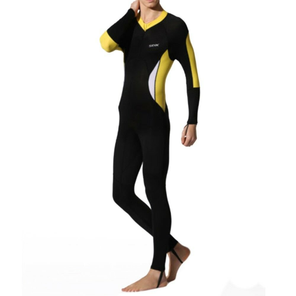 S016S017S018 One-piece Diving Suit Wetsuit Surfing   yellow unhooded   XS
