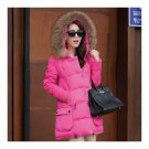 Winter Woman Fur Collar Down Coat Middle Long Warm   rose red