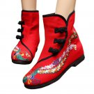 Vintage Beijing Cloth Shoes Embroidered Boots 12-03   red  35